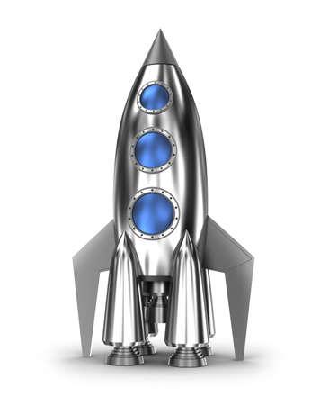 白で隔離スペース ロケット 写真素材