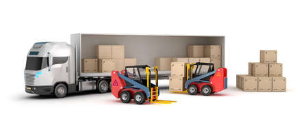 warehouse: Forklift is loading the truck. Stock Photo