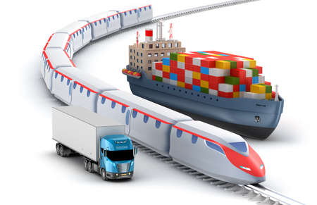 sea freight: Freight transport by truck rail and ship isolated on white