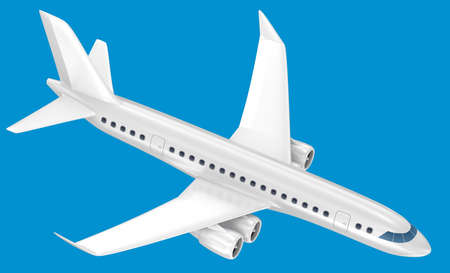 3d airplane isolated on blue Stock Photo