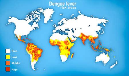 viral strain: Map of Dengue fever spread