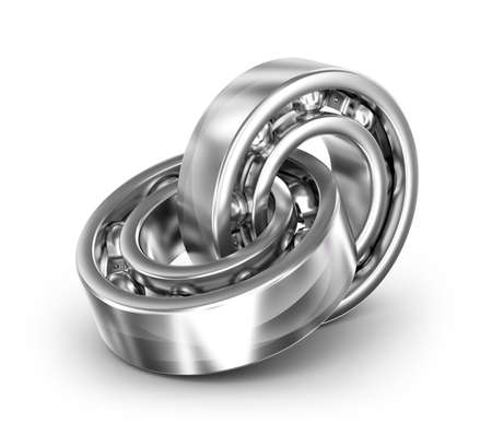 friction: Two bearings linked together on white background Stock Photo