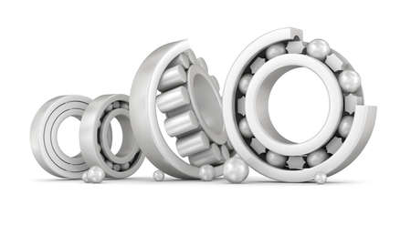 rotating parts: Ceramic bearings group over white