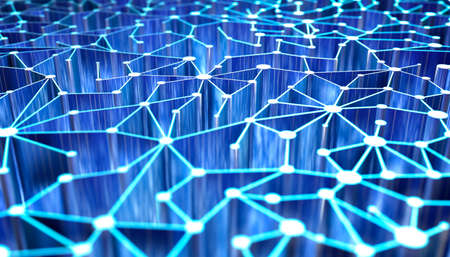 blue network: Abstract network technology 3D Background Stock Photo