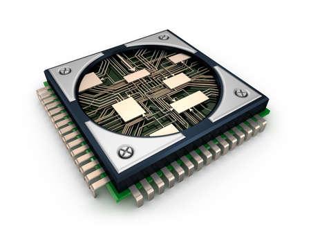 CPU met zichtbare circuits op een witte achtergrond Stockfoto