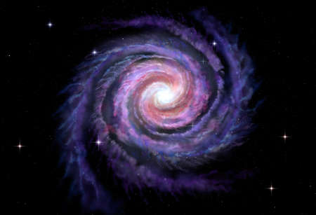space background: Spiral galaxy illustration of Milky Way