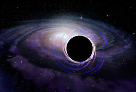 with holes: Black hole star in deep space illustration Stock Photo