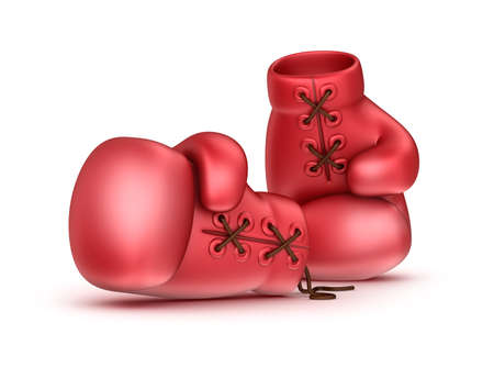 leather gloves: Red leather boxing gloves isolated on white Stock Photo