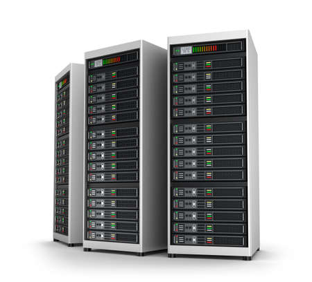 meseros: Fila de servidores de red en centro de datos aislados en blanco