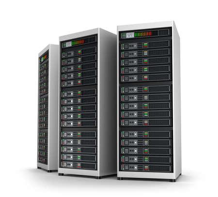 Rangée de serveurs de réseau dans le centre de données isolé sur blanc