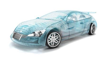 Auto-ontwerp draad model. Mijn eigen ontwerp. Stockfoto
