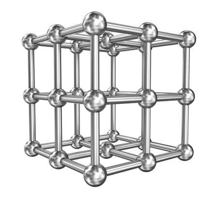 covalent: Cubic molecule connect steel model Stock Photo