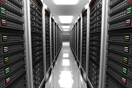black and white farm: Modern interior of server room in datacenter Stock Photo