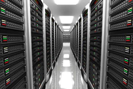 Moderne interieur van serverruimte in datacenter