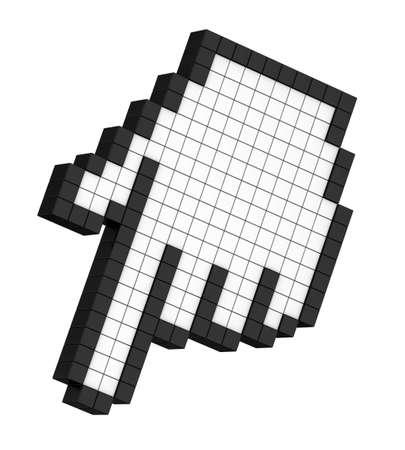 3D pixel hand arrow isolated photo