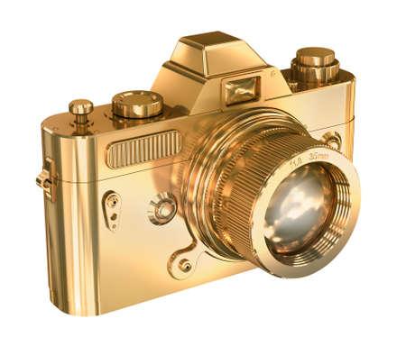 slr camera: Gold photo camera on a white background Stock Photo