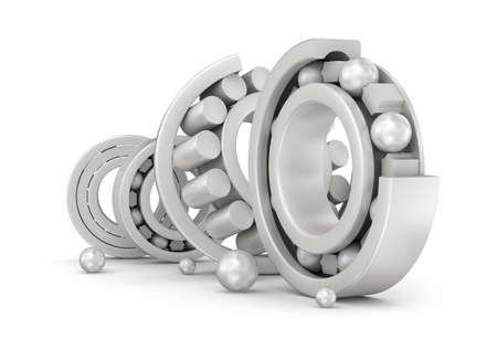 bearings: Ceramic bearings group over white