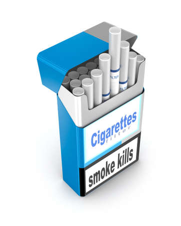 with pack: Cigarettes pack 3D illustration isolated over white