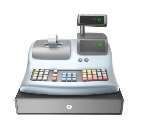 Cash register isolated on white photo