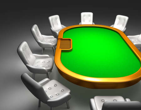 texas hold'em: Poker table with chairs top view isolated on white Stock Photo