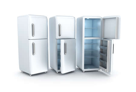 coolness: Refrigerators on white background. 3D render
