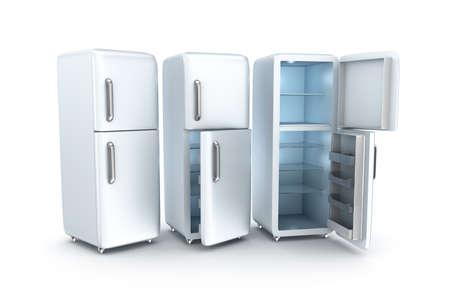 Refrigerators on white background. 3D render