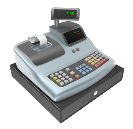 cash box: Cash register. Front view