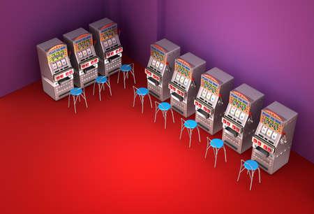 slot machines: Slot machines in the casino Interior Stock Photo
