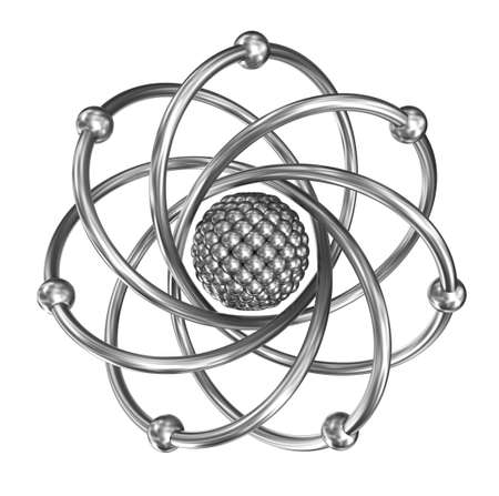 white atom: Atom - relistic model from steel over white background Stock Photo