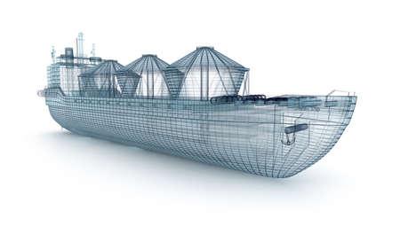 石油タンカー船ワイヤモデル白で隔離されます。自分のデザイン