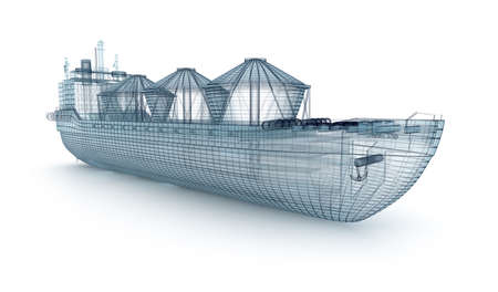 delineation: Oil tanker ship wire model isolated on white. My own design