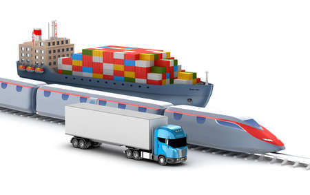 rail: Freight transport by truck, rail and ship isolated on white