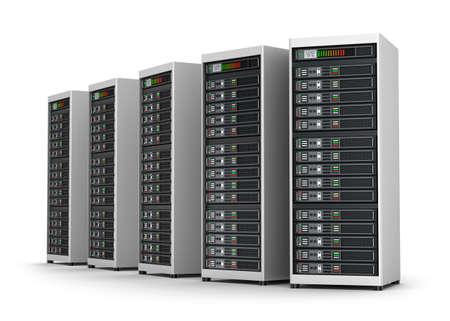 Row of network servers in data center isolated on white Standard-Bild