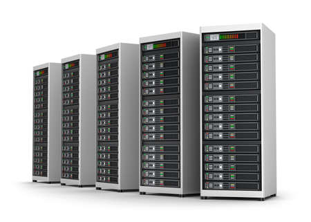Row of network servers in data center isolated on white Stockfoto