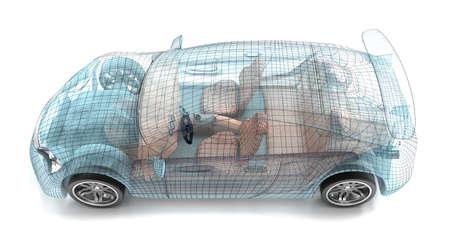 Diseño del coche, modelo de alambre. Mi propio diseño. Foto de archivo - 44565302