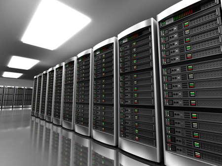 meseros: Interior moderno de la sala de servidores en el centro de datos