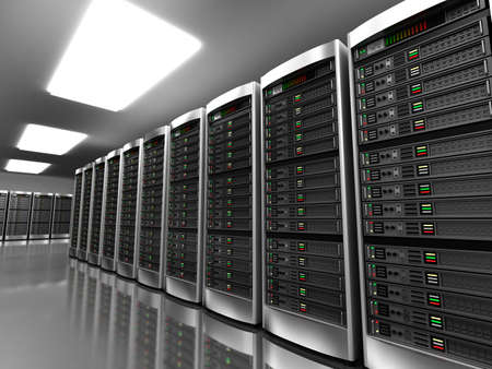 web hosting: Modern interior of server room in datacenter Stock Photo