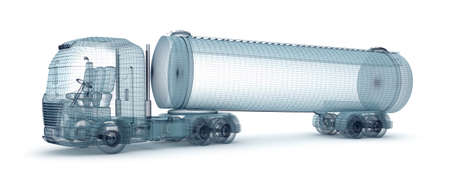 empty tank: Oil truck with cargo container, wire model. My own design