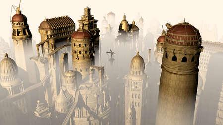 mystique: Fantasy 3D city form past to future