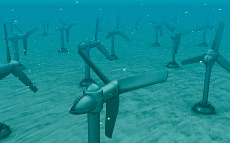 tidal wave: Tidal wave turbines on the bottom of the sea.