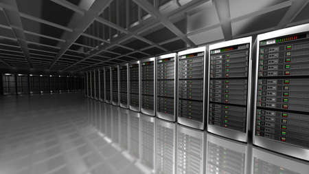 server farm: Modern interior of server room in datacenter Stock Photo