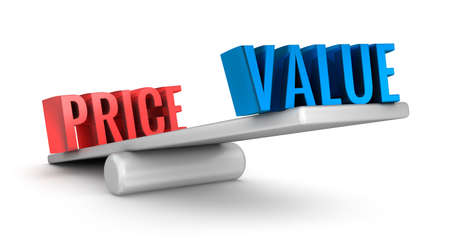 Value Price scale 3d word concept over white