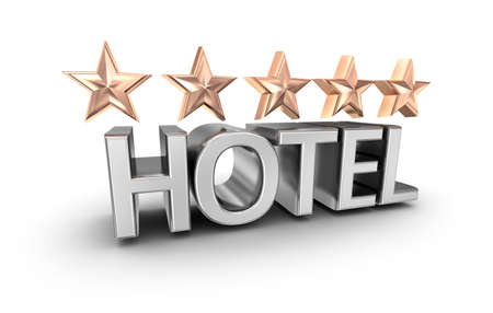 five stars: Five stars hotel text, 3d concept isolated on white Stock Photo