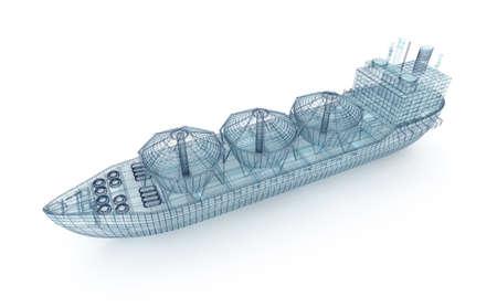 Olietanker schip draad model geïsoleerd op wit Stockfoto - 46737718