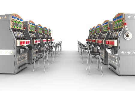 machines: Casino slot machines, white interior