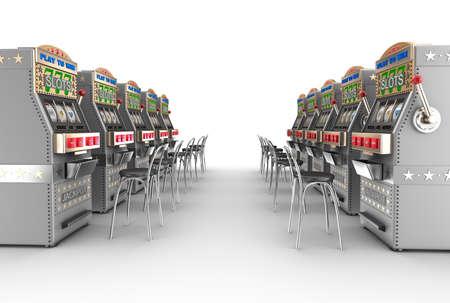 maquinas tragamonedas: M�quinas tragamonedas del casino, interior blanco