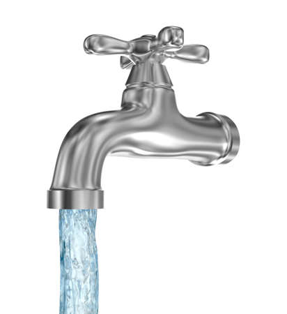 Chrome tap with a water stream. Isolated on white 스톡 콘텐츠