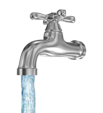 Toque de cromo con una corriente de agua. Aislado en blanco Foto de archivo - 46737721