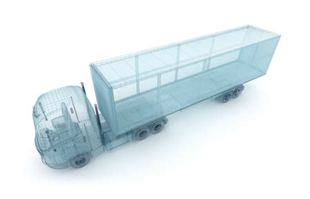 lorry: Truck with cargo container, wire model