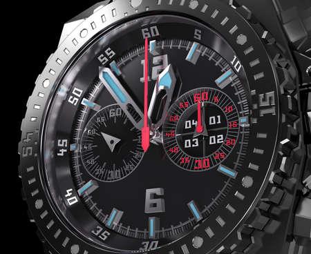 Chronograph dial, wristwatch macro Stockfoto